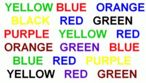 Say the colour of the ink of each of the words below: