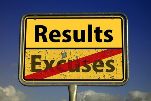 Sign post highlighting results over excuses in negotiating