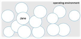 One circle with Jane in the middle and lots of other circles spread out across the operating environment